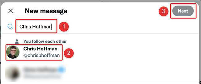 Select a user to DM on the Twitter site.