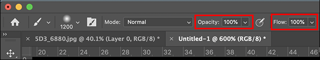 brush flow and opacity options in the tool bar