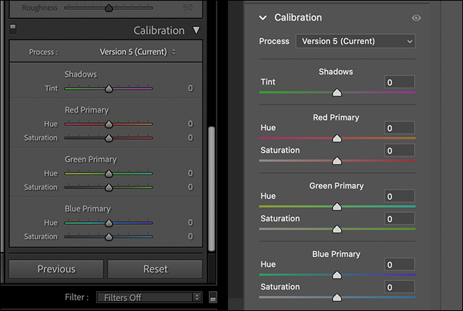 calibration panel in lightroom and adobe camera raw side by side