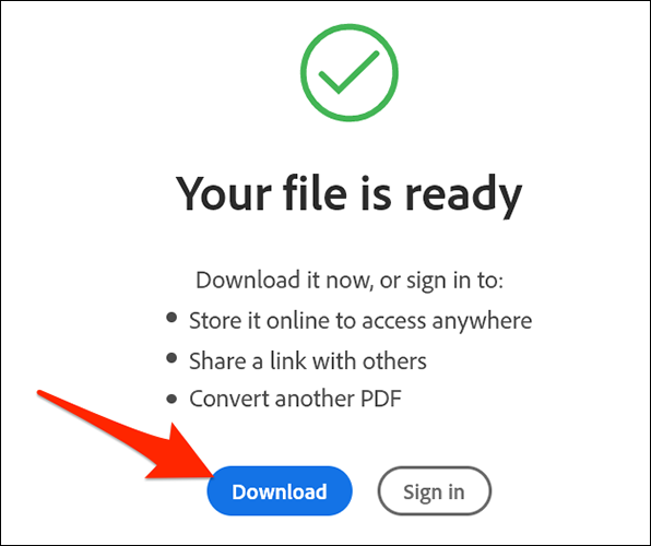 """Click """"Download"""" in the """"Your File is Ready"""" section of the Adobe's PDF to JPG conversion site."""