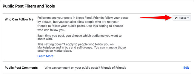 """Select """"Public"""" from the """"Who Can Follow Me"""" drop-down menu on Facebook."""