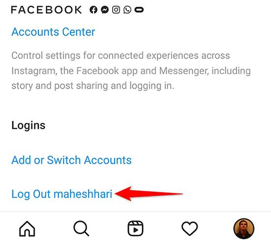 """Toque em """"Sair"""" na tela """"Configurações"""" do aplicativo Instagram."""