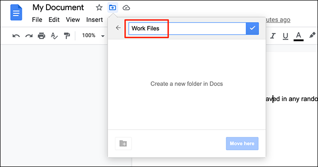 Type a new folder name in the move menu on the Google Docs site.