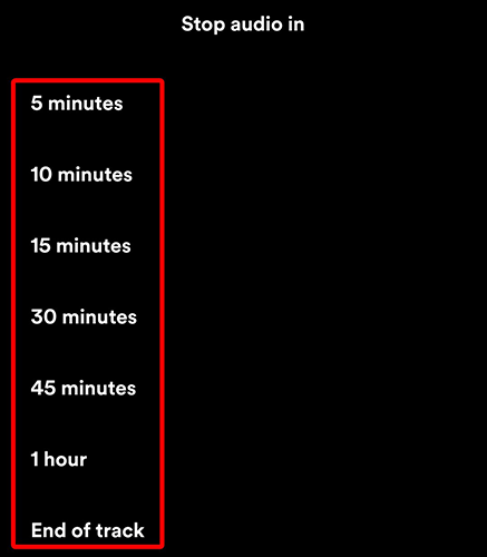 """Choose a time period on the """"Stop Audio In"""" page of the Spotify app."""