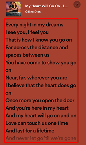 View song lyrics in a full-screen view in the Spotify mobile app.
