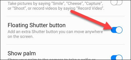 """Toggle on """"Floating Shutter Button."""""""