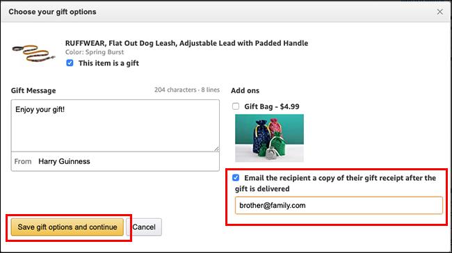 Schermata delle opzioni regalo su Amazon