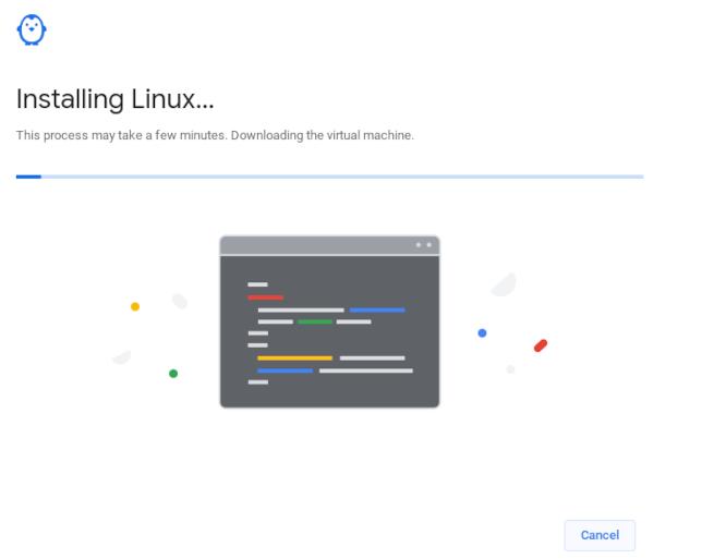 Linux download progress bar on a Chromebook