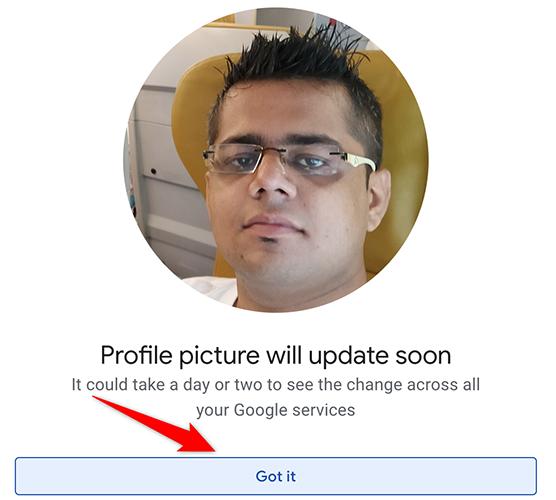 """Google Hesabı sitesinde profil resmi kaldırma başarılı mesaj kutusunu kapatmak için """"Anladım""""ı tıklayın."""