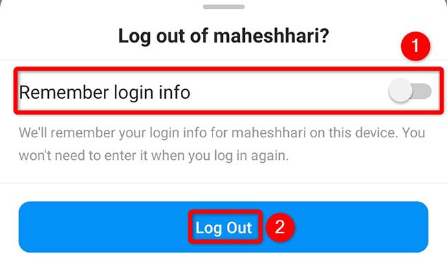 """Toque em """"Log Out"""" no prompt """"Log Out"""" do aplicativo Instagram."""