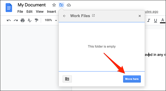 """Click """"Move Here"""" in the move menu on the Google Docs site."""
