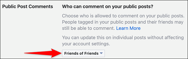 """Select an option in the """"Public Post Comments"""" menu on Facebook."""