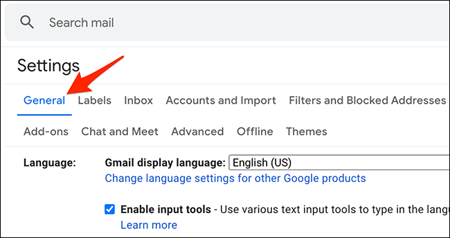 """Click """"General"""" in """"Settings"""" on Gmail."""