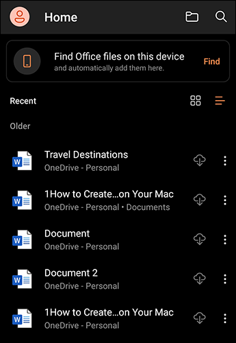 Karanlık modda Android için Microsoft Office.