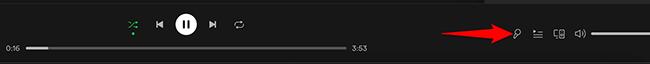 "Click the ""Lyrics"" option in Spotify."