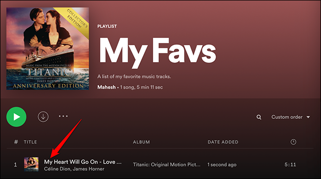 Song successfully added to a playlist in Spotify.