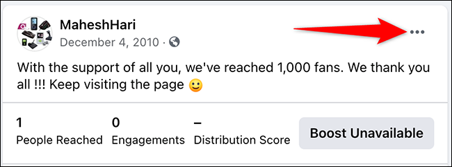 Click the three dots for a post on a page on Facebook.