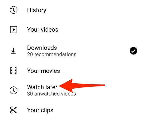 """Selecione """"Assistir mais tarde"""" na página """"Biblioteca"""" do aplicativo do YouTube."""