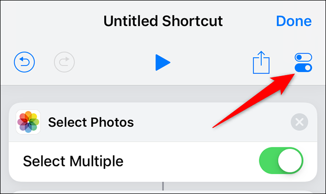 """Tap """"Settings"""" on the """"Untitled Shortcut"""" page in Shortcuts."""