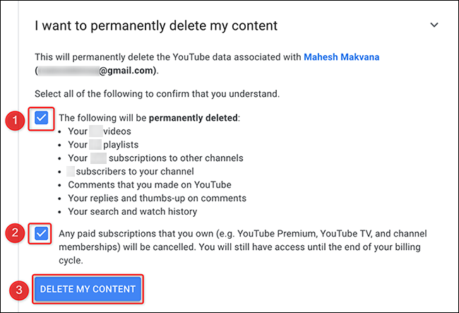 """Click """"Delete My Content"""" on the """"Remove YouTube Content"""" page."""