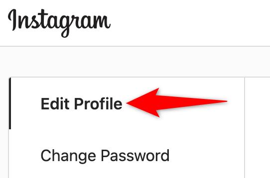 """Instagram sitesindeki ayarlarda """"Profili Düzenle""""yi seçin."""