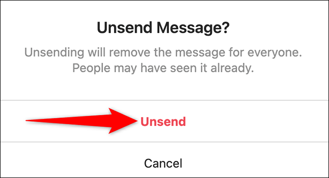 """Click """"Unsend"""" in the """"Unsend Message"""" prompt on the Instagram site."""