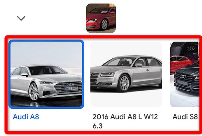 Android'de ters görüntü aramanın sonuçları.
