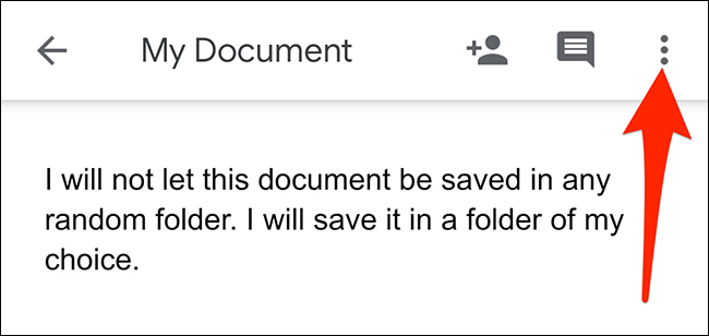 Tap the three dots at the top-right corner of the editing screen in the Google Docs app.