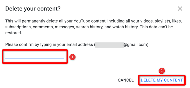 """Enter the email address and select """"Delete My Content"""" in the """"Delete Your Content"""" window."""
