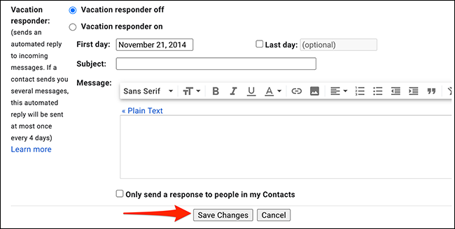 """Click """"Save Changes"""" in """"Settings"""" on Gmail."""