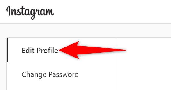 """Instagram sitesinin ayarlar sayfasında """"Profili Düzenle""""yi seçin."""