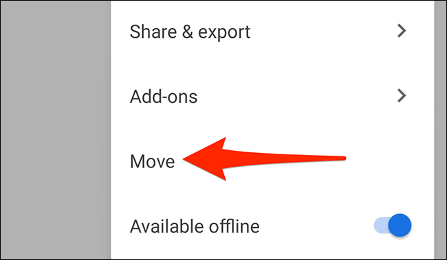 """Select """"Move"""" in the three-dots menu of the Google Docs app."""