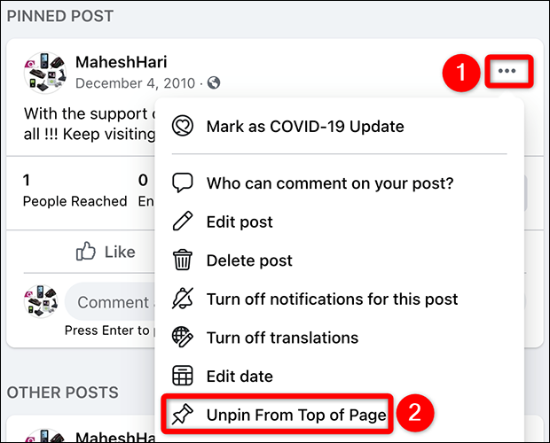 """Select """"Unpin From Top of Page"""" from the three-dots menu for a page post on Facebook."""