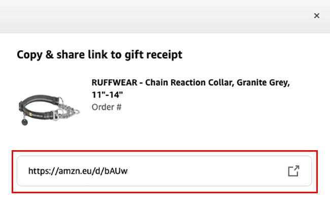 URL per ricevuta regalo