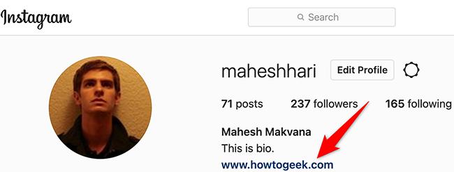 Instagram sitesinde bio'da bir bağlantı.