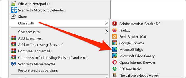 Right-click the PDF and select Open With > Microsoft Edge in File Explorer.