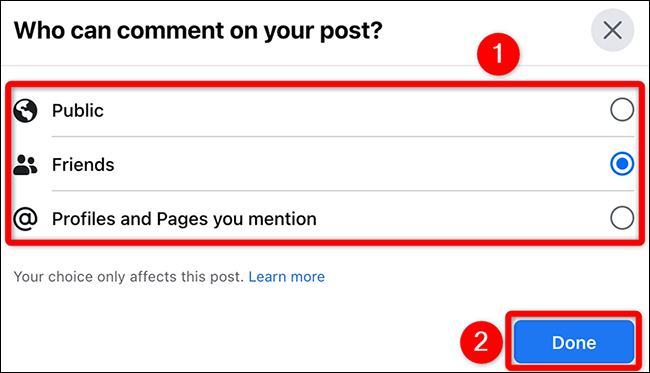 """Select an option in the """"Who Can Comment on Your Post"""" window on Facebook."""