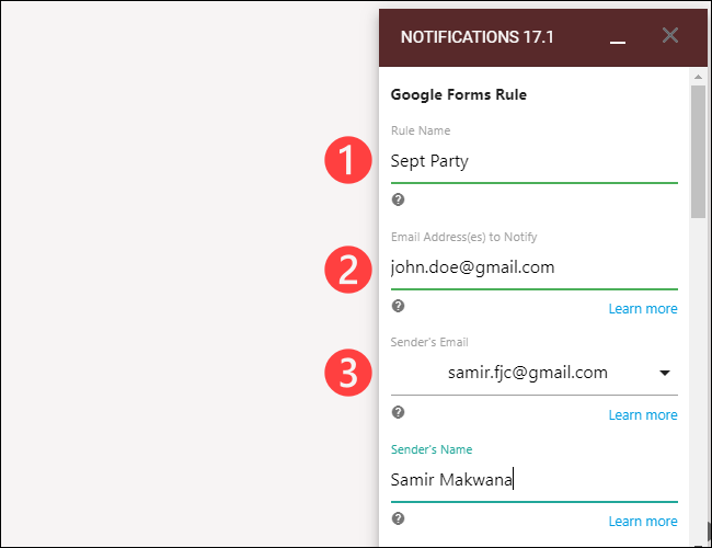 """Add """"Rule Name,"""" """"Sender Email,"""" and other details."""