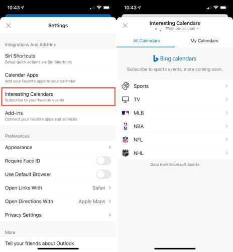 Abra calendários interessantes no Outlook no celular