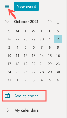 Clique em Adicionar Calendário