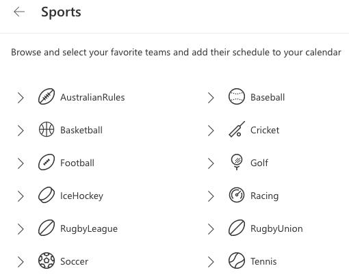 Ligas esportivas do calendário do Outlook