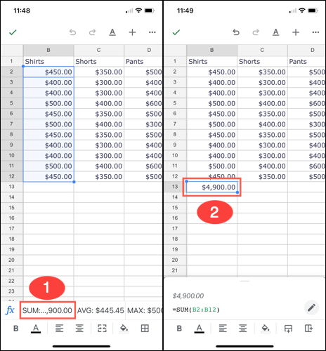 Tap a calculation to add the formula to the sheet