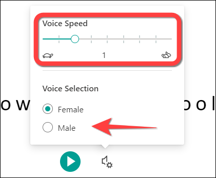 You can adjust playback speed and select a different gender.