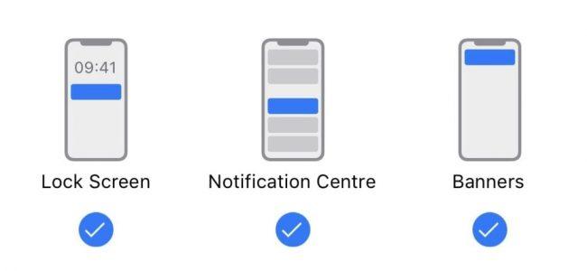 iPhone notification types.