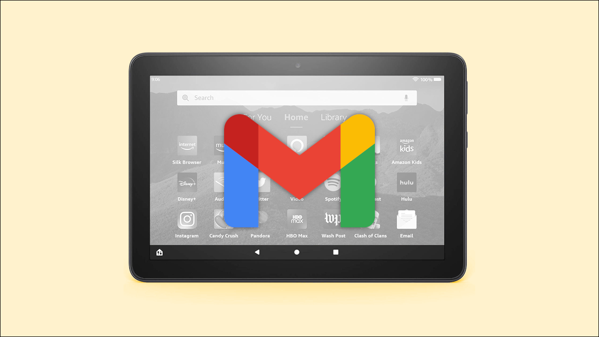 Amazon Fire tablet with Gmail logo.