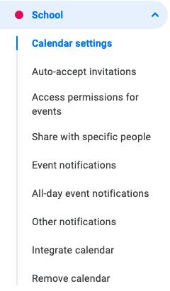 Google Takvim ayarları