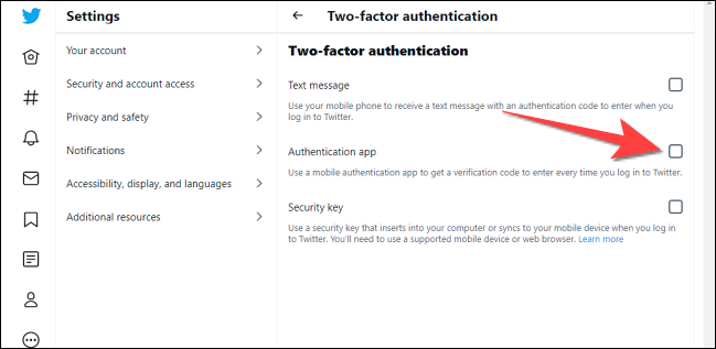 """Check the box for """"Authentication App."""""""