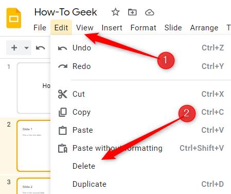 Click Edit and then click Delete.