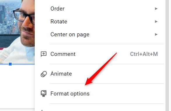 Click Format Options in the context menu.