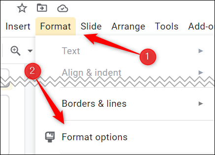 Click Format and then click Format Options in the drop-down menu.